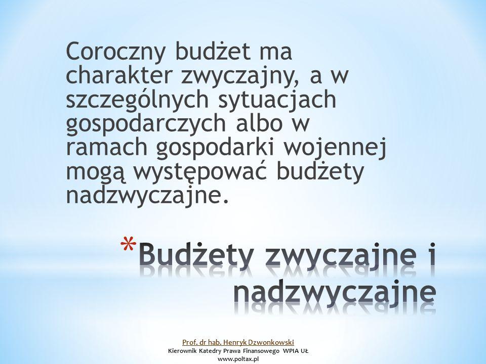 Coroczny budżet ma charakter zwyczajny, a w szczególnych sytuacjach gospodarczych albo w ramach gospodarki wojennej mogą występować budżety nadzwyczajne.