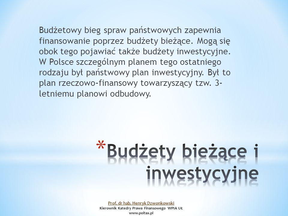 Budżetowy bieg spraw państwowych zapewnia finansowanie poprzez budżety bieżące.