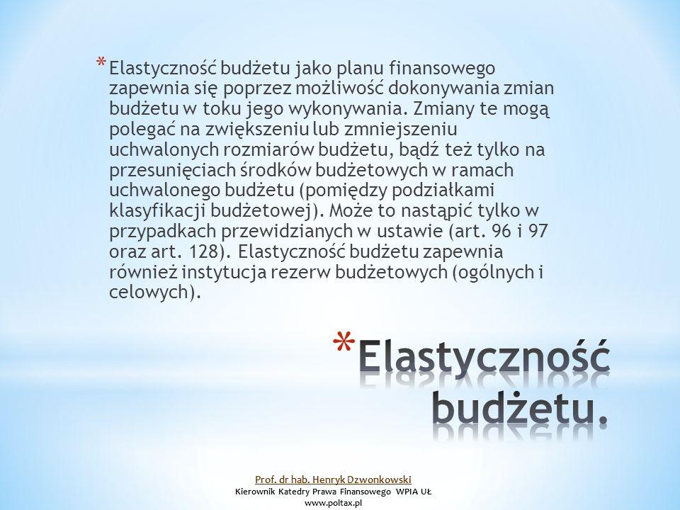 * Elastyczność budżetu jako planu finansowego zapewnia się poprzez możliwość dokonywania zmian budżetu w toku jego wykonywania.