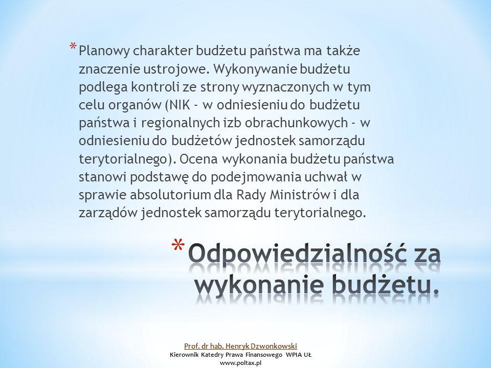 * Planowy charakter budżetu państwa ma także znaczenie ustrojowe.