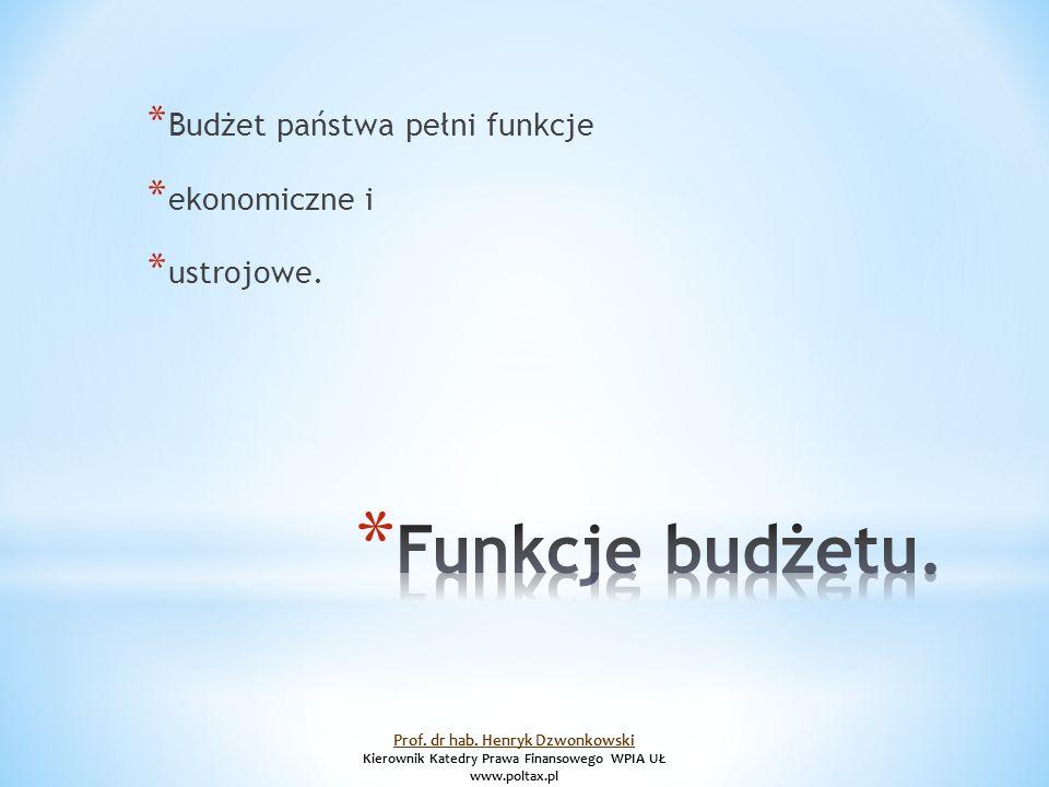 * Budżet państwa pełni funkcje * ekonomiczne i * ustrojowe.