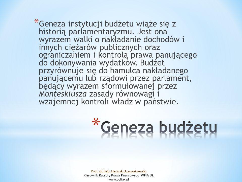 * Geneza instytucji budżetu wiąże się z historią parlamentaryzmu.