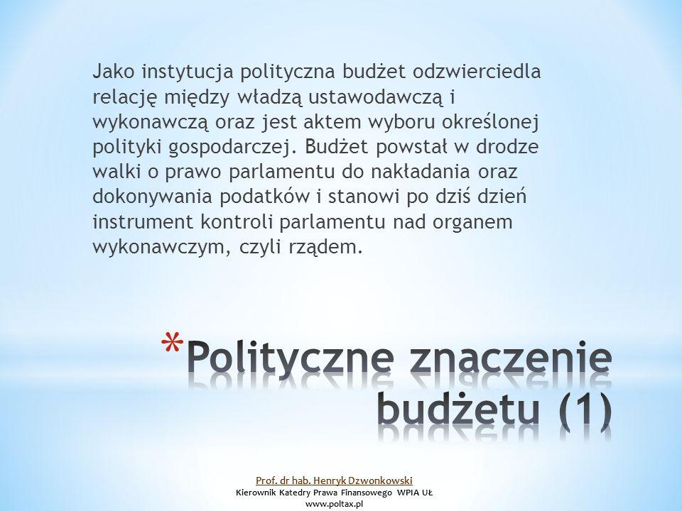 Jako instytucja polityczna budżet odzwierciedla relację między władzą ustawodawczą i wykonawczą oraz jest aktem wyboru określonej polityki gospodarczej.