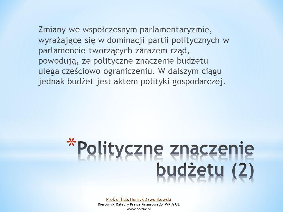 Zmiany we współczesnym parlamentaryzmie, wyrażające się w dominacji partii politycznych w parlamencie tworzących zarazem rząd, powodują, że polityczne znaczenie budżetu ulega częściowo ograniczeniu.