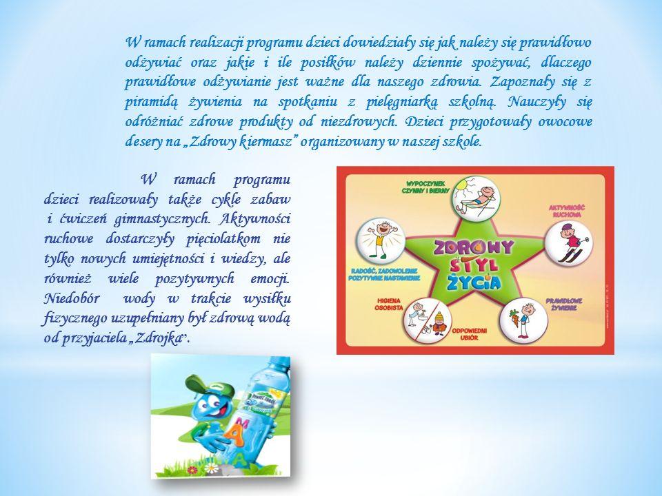 W ramach realizacji programu dzieci dowiedziały się jak należy się prawidłowo odżywiać oraz jakie i ile posiłków należy dziennie spożywać, dlaczego prawidłowe odżywianie jest ważne dla naszego zdrowia.