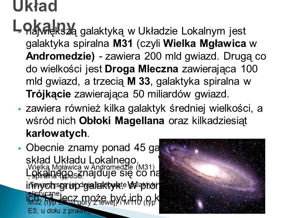  największą galaktyką w Układzie Lokalnym jest galaktyka spiralna M31 (czyli Wielka Mgławica w Andromedzie) - zawiera 200 mld gwiazd. Drugą co do wie