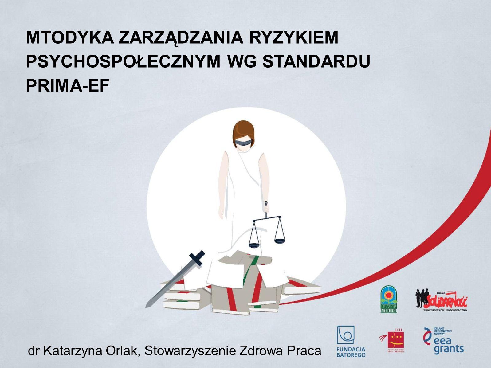 MTODYKA ZARZĄDZANIA RYZYKIEM PSYCHOSPOŁECZNYM WG STANDARDU PRIMA-EF dr Katarzyna Orlak, Stowarzyszenie Zdrowa Praca