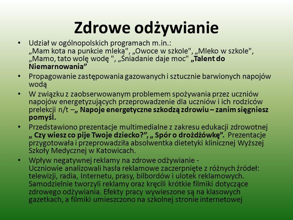 """Zdrowe odżywianie Udział w ogólnopolskich programach m.in.: """"Mam kota na punkcie mleka"""
