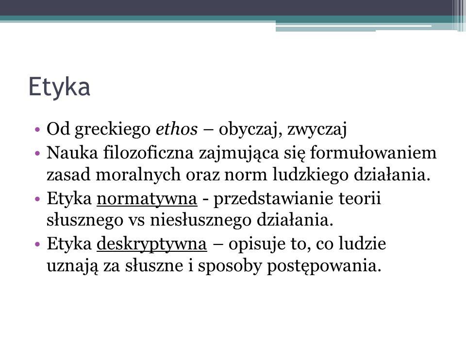 Etyka Od greckiego ethos – obyczaj, zwyczaj Nauka filozoficzna zajmująca się formułowaniem zasad moralnych oraz norm ludzkiego działania. Etyka normat