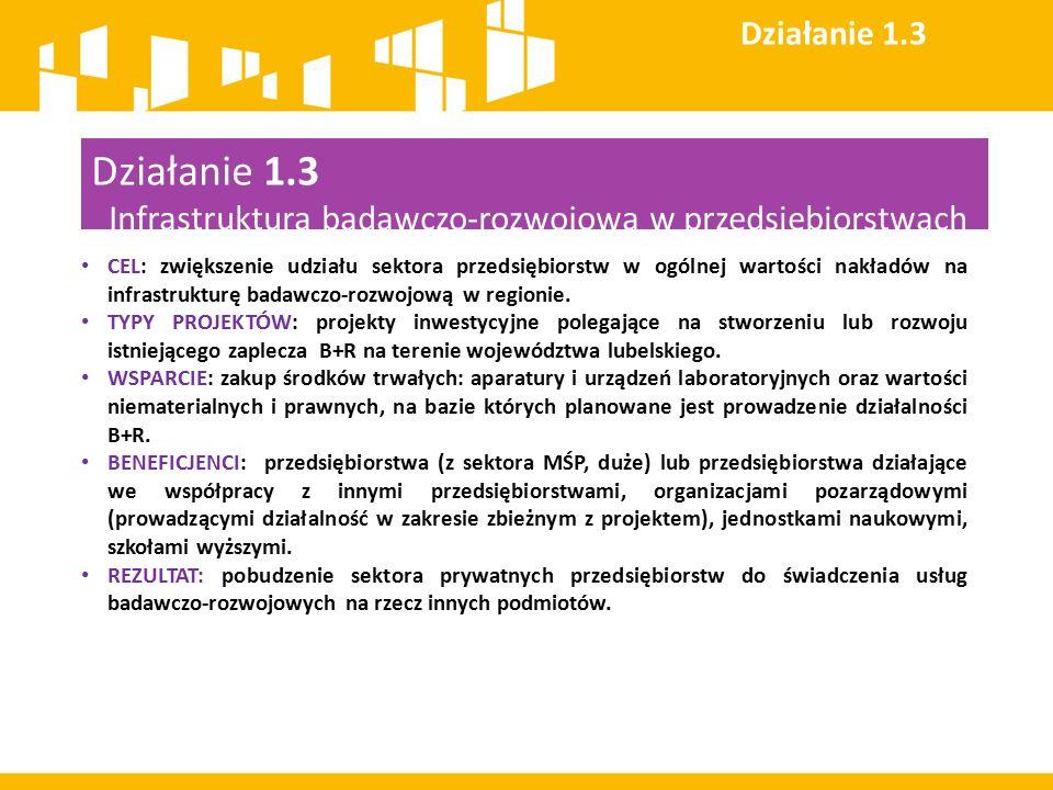 Działanie 1.3 Infrastruktura badawczo-rozwojowa w przedsiębiorstwach CEL: zwiększenie udziału sektora przedsiębiorstw w ogólnej wartości nakładów na i