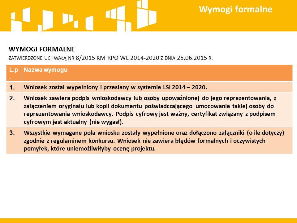 WYMOGI FORMALNE ZATWIERDZONE UCHWAŁĄ NR 8/2015 KM RPO WL 2014-2020 Z DNIA 25.06.2015 R. Wymogi formalne L.p. Nazwa wymogu 1. Wniosek został wypełniony