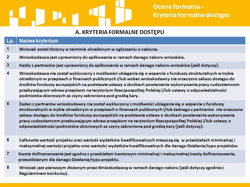 A. KRYTERIA FORMALNE DOSTĘPU Ocena formalna - Kryteria formalne dostępu Lp.Nazwa kryterium 1 Wniosek został złożony w terminie określonym w ogłoszeniu