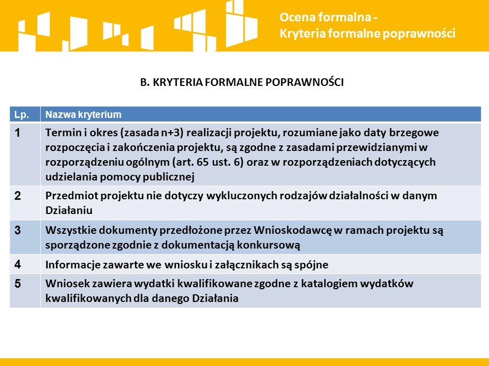 B. KRYTERIA FORMALNE POPRAWNOŚCI Ocena formalna - Kryteria formalne poprawności Lp.Nazwa kryterium 1 Termin i okres (zasada n+3) realizacji projektu,