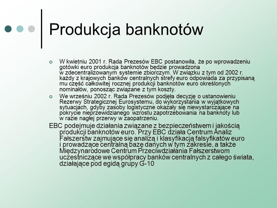 Produkcja banknotów W kwietniu 2001 r.