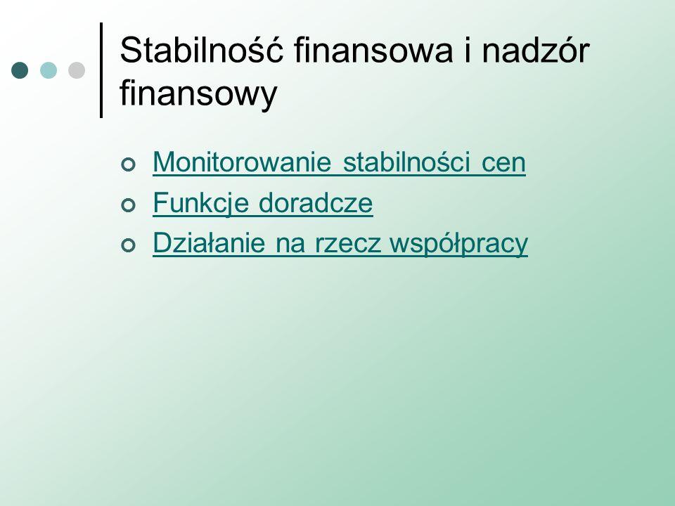 Stabilność finansowa i nadzór finansowy Monitorowanie stabilności cen Funkcje doradcze Działanie na rzecz współpracy