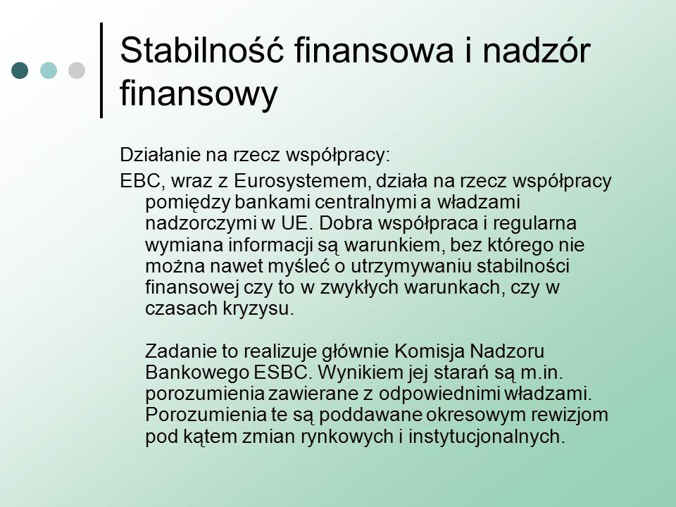 Stabilność finansowa i nadzór finansowy Działanie na rzecz współpracy: EBC, wraz z Eurosystemem, działa na rzecz współpracy pomiędzy bankami centralnymi a władzami nadzorczymi w UE.