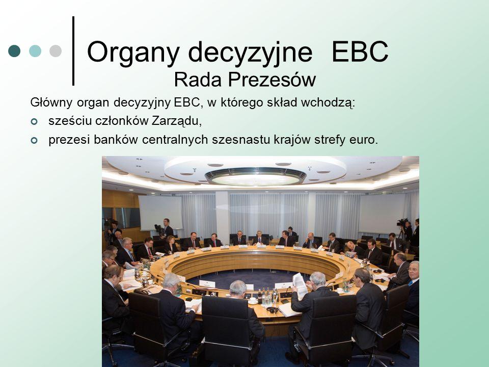 Organy decyzyjneEBC Rada Prezesów Główny organ decyzyjny EBC, w którego skład wchodzą: sześciu członków Zarządu, prezesi banków centralnych szesnastu krajów strefy euro.