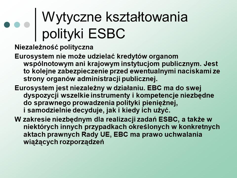 Wytyczne kształtowania polityki ESBC Niezależność polityczna Eurosystem nie może udzielać kredytów organom wspólnotowym ani krajowym instytucjom publicznym.