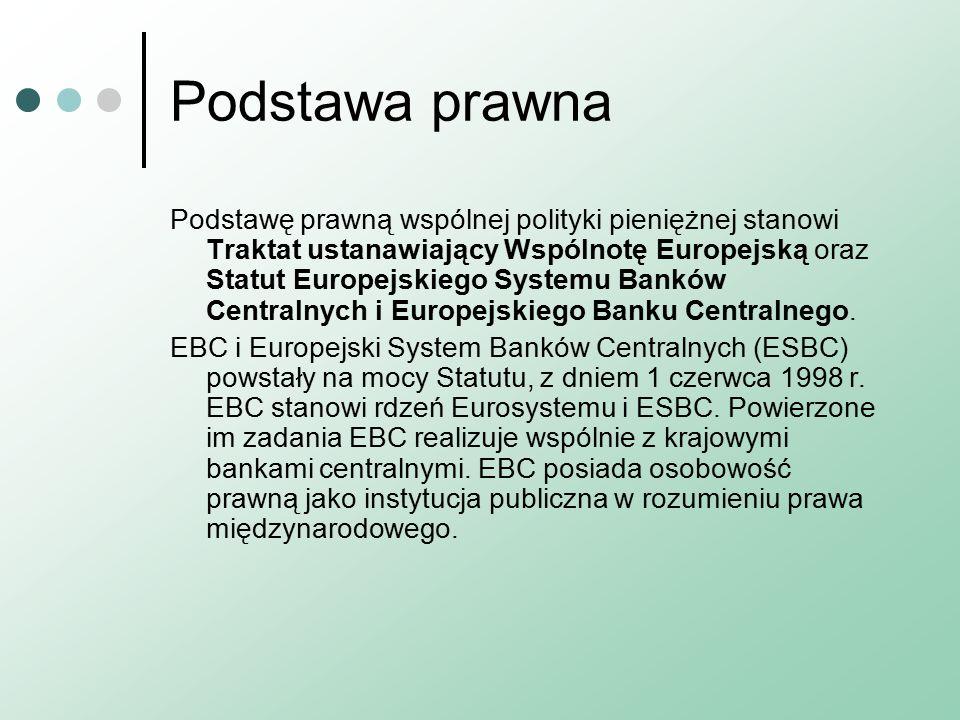 Podstawa prawna Podstawę prawną wspólnej polityki pieniężnej stanowi Traktat ustanawiający Wspólnotę Europejską oraz Statut Europejskiego Systemu Banków Centralnych i Europejskiego Banku Centralnego.