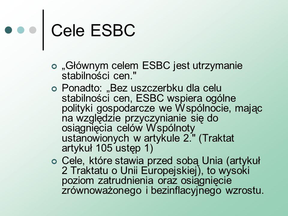 """Cele ESBC """"Głównym celem ESBC jest utrzymanie stabilności cen. Ponadto: """"Bez uszczerbku dla celu stabilności cen, ESBC wspiera ogólne polityki gospodarcze we Wspólnocie, mając na względzie przyczynianie się do osiągnięcia celów Wspólnoty ustanowionych w artykule 2. (Traktat artykuł 105 ustęp 1) Cele, które stawia przed sobą Unia (artykuł 2 Traktatu o Unii Europejskiej), to wysoki poziom zatrudnienia oraz osiągnięcie zrównoważonego i bezinflacyjnego wzrostu."""