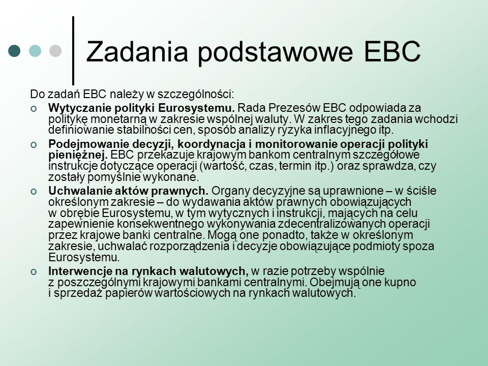Zadania podstawowe EBC Do zadań EBC należy w szczególności: Wytyczanie polityki Eurosystemu.