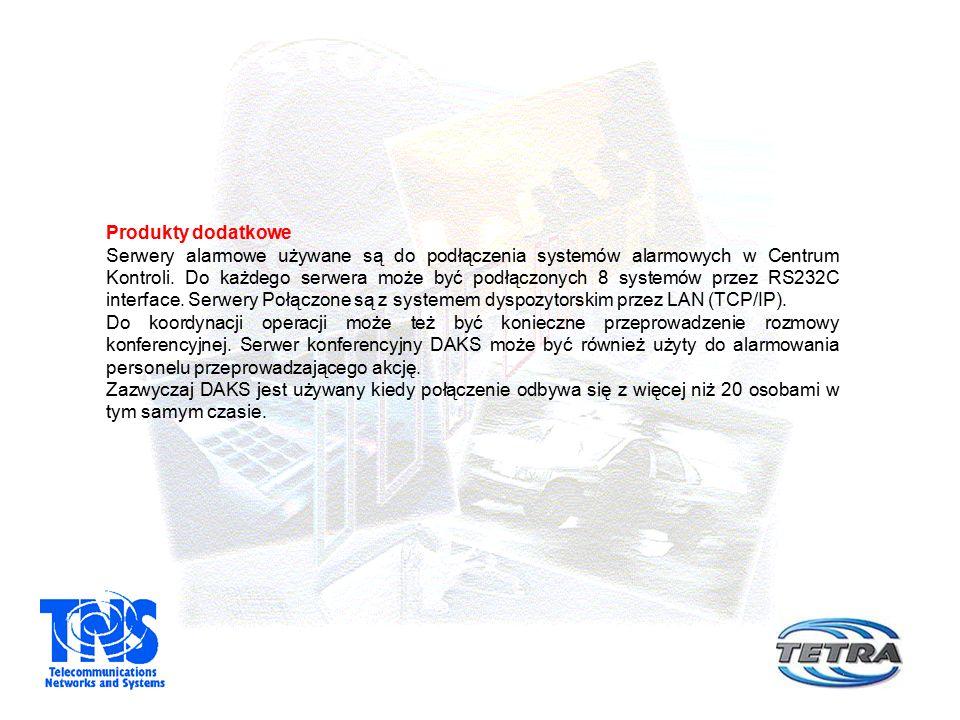 Produkty dodatkowe Serwery alarmowe używane są do podłączenia systemów alarmowych w Centrum Kontroli.