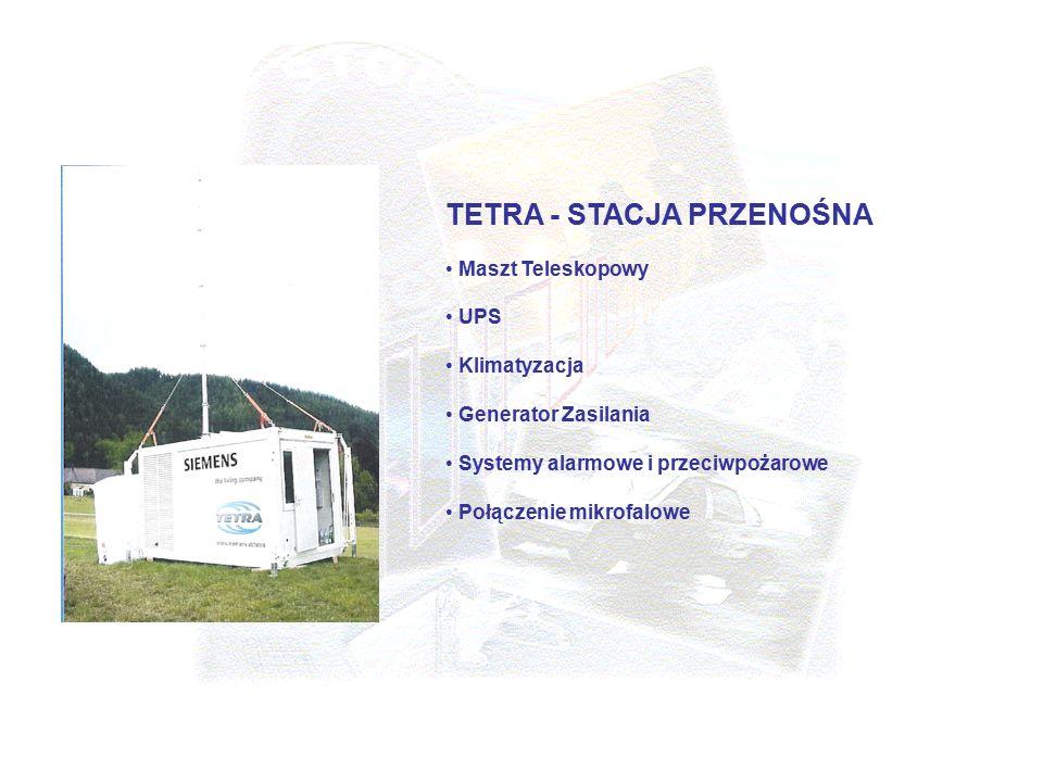 TETRA - STACJA PRZENOŚNA Maszt Teleskopowy UPS Klimatyzacja Generator Zasilania Systemy alarmowe i przeciwpożarowe Połączenie mikrofalowe