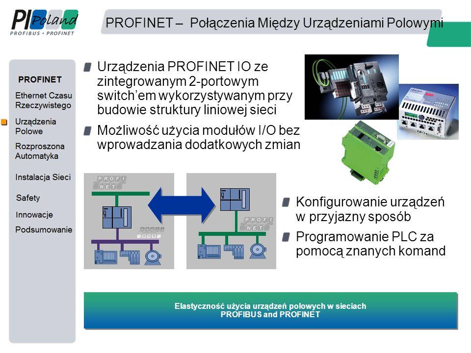 PROFINET – Połączenia Między Urządzeniami Polowymi Urządzenia PROFINET IO ze zintegrowanym 2-portowym switch'em wykorzystywanym przy budowie struktury