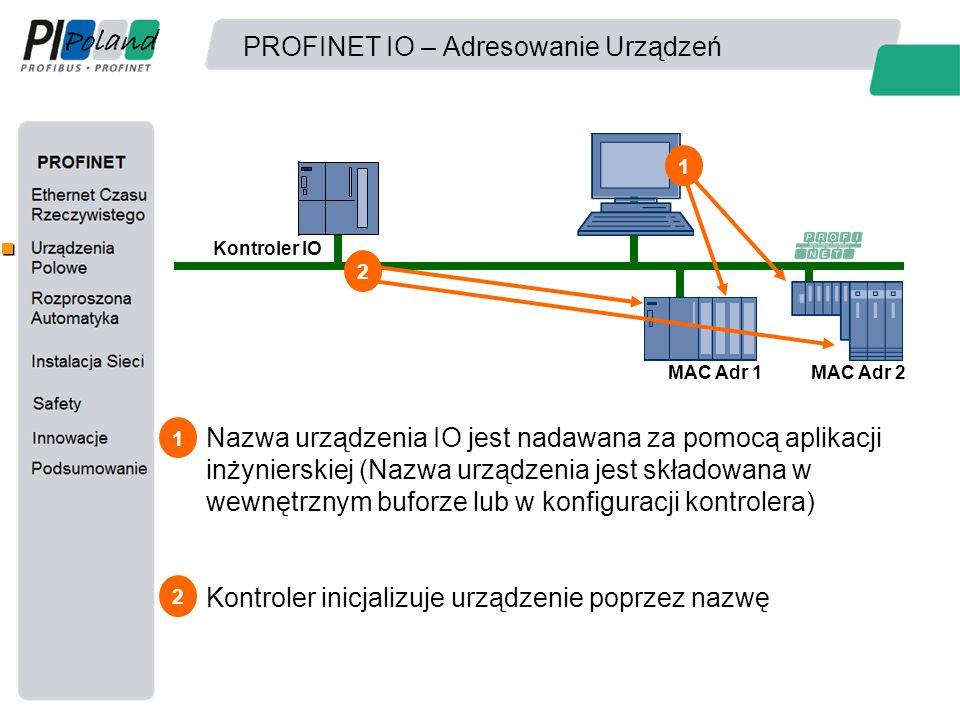 PROFINET IO – Adresowanie Urządzeń Kontroler IO MAC Adr 1MAC Adr 2 Nazwa urządzenia IO jest nadawana za pomocą aplikacji inżynierskiej (Nazwa urządzen