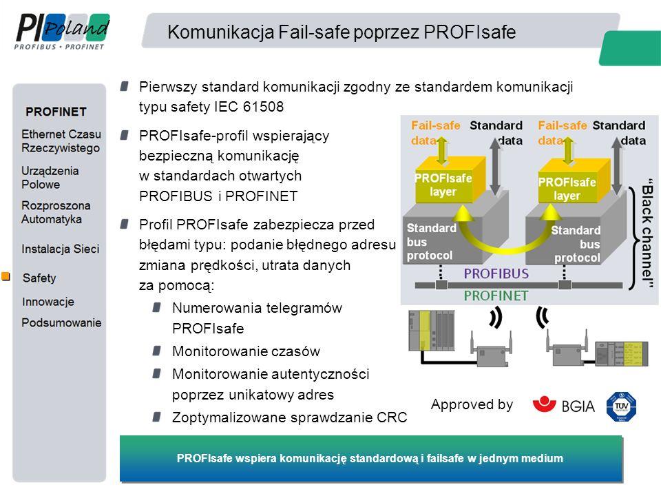Komunikacja Fail-safe poprzez PROFIsafe Pierwszy standard komunikacji zgodny ze standardem komunikacji typu safety IEC 61508 PROFIsafe-profil wspieraj