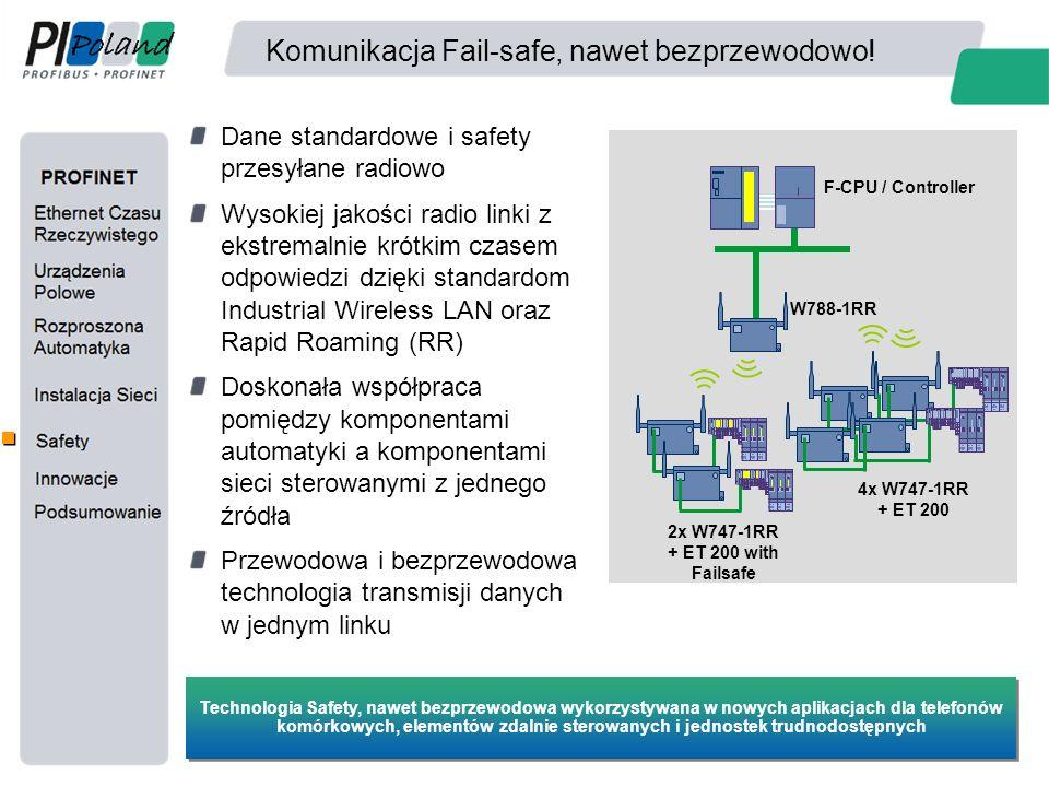 Komunikacja Fail-safe, nawet bezprzewodowo! Dane standardowe i safety przesyłane radiowo Wysokiej jakości radio linki z ekstremalnie krótkim czasem od