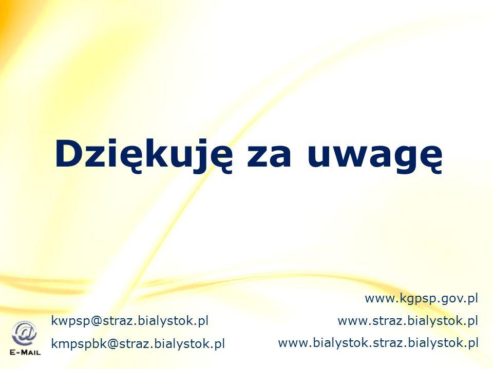 Dziękuję za uwagę kmpspbk@straz.bialystok.pl kwpsp@straz.bialystok.pl www.kgpsp.gov.pl www.straz.bialystok.pl www.bialystok.straz.bialystok.pl