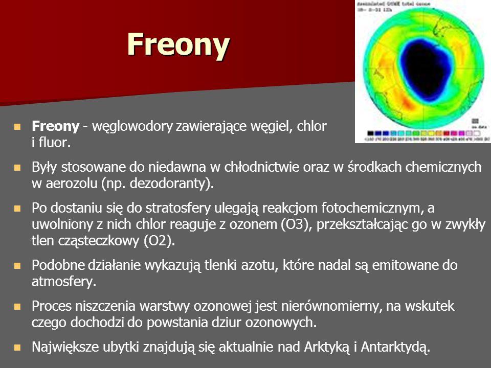Freony Freony - węglowodory zawierające węgiel, chlor i fluor.