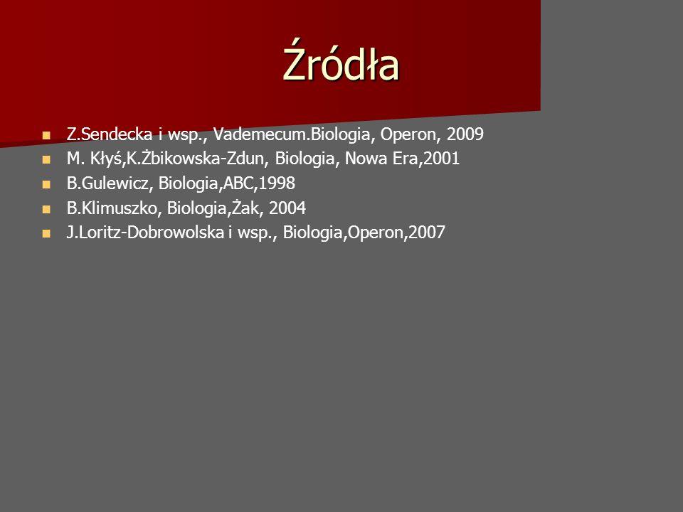 Źródła Z.Sendecka i wsp., Vademecum.Biologia, Operon, 2009 M. Kłyś,K.Żbikowska-Zdun, Biologia, Nowa Era,2001 B.Gulewicz, Biologia,ABC,1998 B.Klimuszko