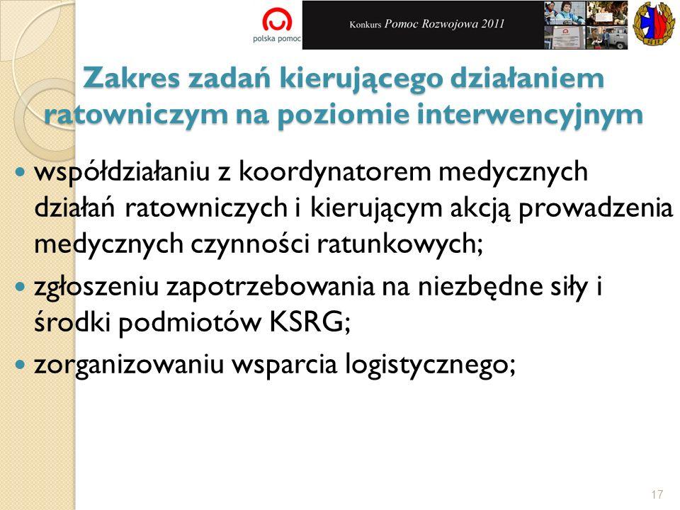 współdziałaniu z koordynatorem medycznych działań ratowniczych i kierującym akcją prowadzenia medycznych czynności ratunkowych; zgłoszeniu zapotrzebow