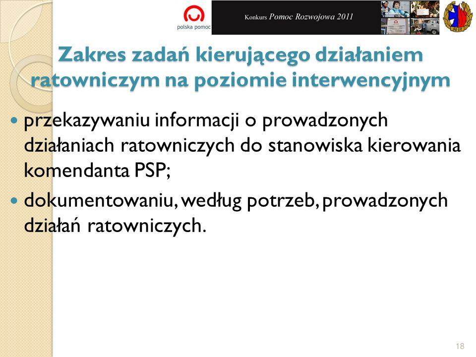 przekazywaniu informacji o prowadzonych działaniach ratowniczych do stanowiska kierowania komendanta PSP; dokumentowaniu, według potrzeb, prowadzonych