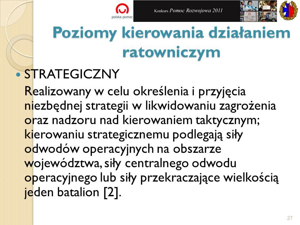 Poziomy kierowania działaniem ratowniczym STRATEGICZNY Realizowany w celu określenia i przyjęcia niezbędnej strategii w likwidowaniu zagrożenia oraz n