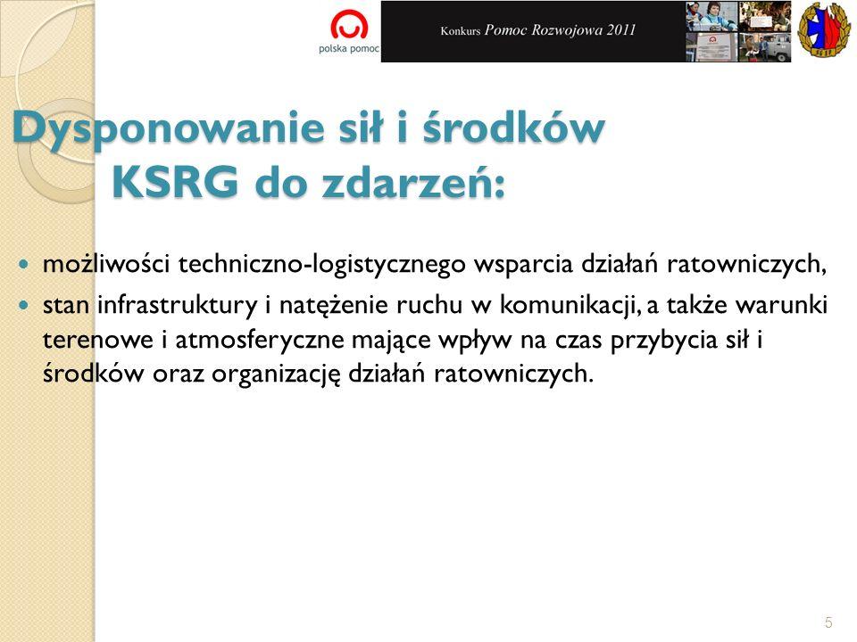 Dysponowanie sił i środków KSRG do zdarzeń: możliwości techniczno-logistycznego wsparcia działań ratowniczych, stan infrastruktury i natężenie ruchu w