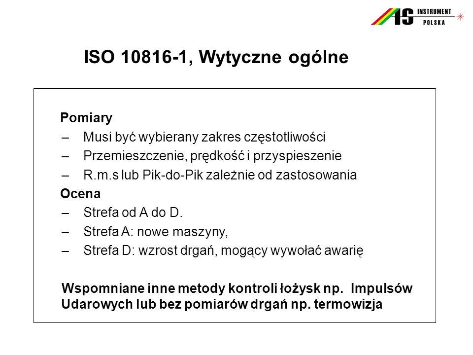 ISO 10816-1, Wytyczne ogólne Pomiary –Musi być wybierany zakres częstotliwości –Przemieszczenie, prędkość i przyspieszenie –R.m.s lub Pik-do-Pik zależ