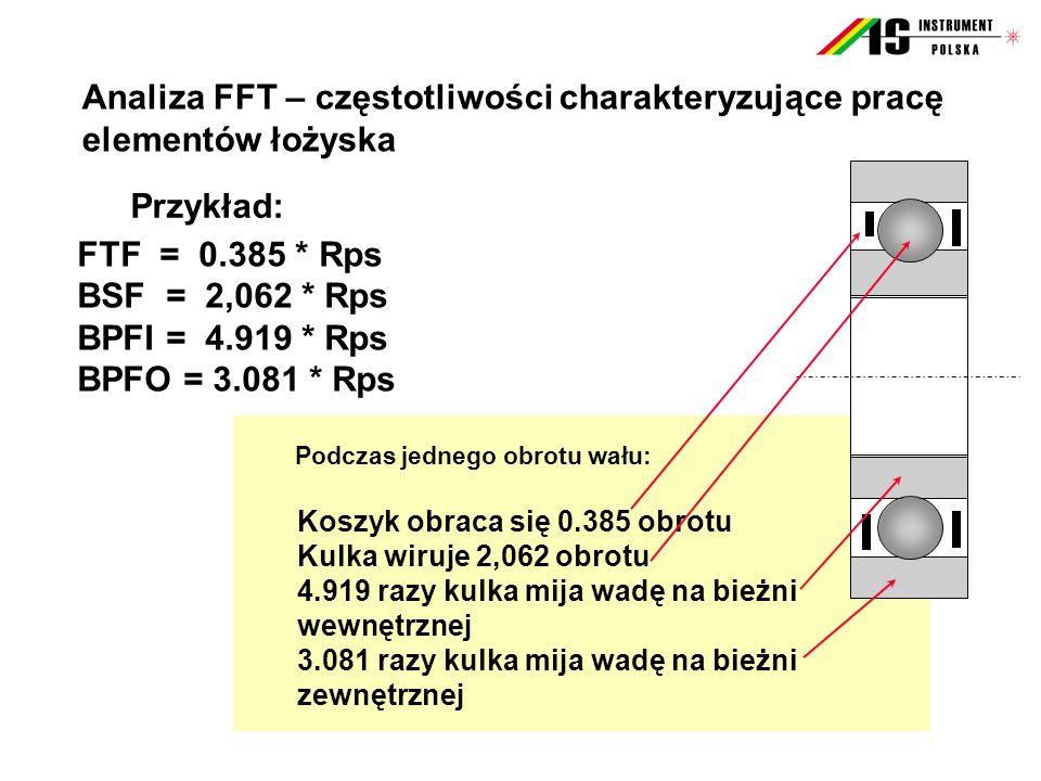 Przykład: FTF = 0.385 * Rps BSF = 2,062 * Rps BPFI = 4.919 * Rps BPFO = 3.081 * Rps Koszyk obraca się 0.385 obrotu Kulka wiruje 2,062 obrotu 4.919 raz