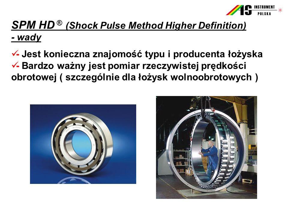 SPM HD ® (Shock Pulse Method Higher Definition) - wady - Jest konieczna znajomość typu i producenta łożyska - Bardzo ważny jest pomiar rzeczywistej pr