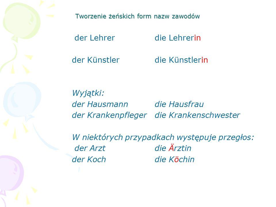 Tworzenie żeńskich form nazw zawodów der Lehrerdie Lehrerin der Künstlerdie Künstlerin Wyjątki: der Hausmanndie Hausfrau der Krankenpflegerdie Kranken