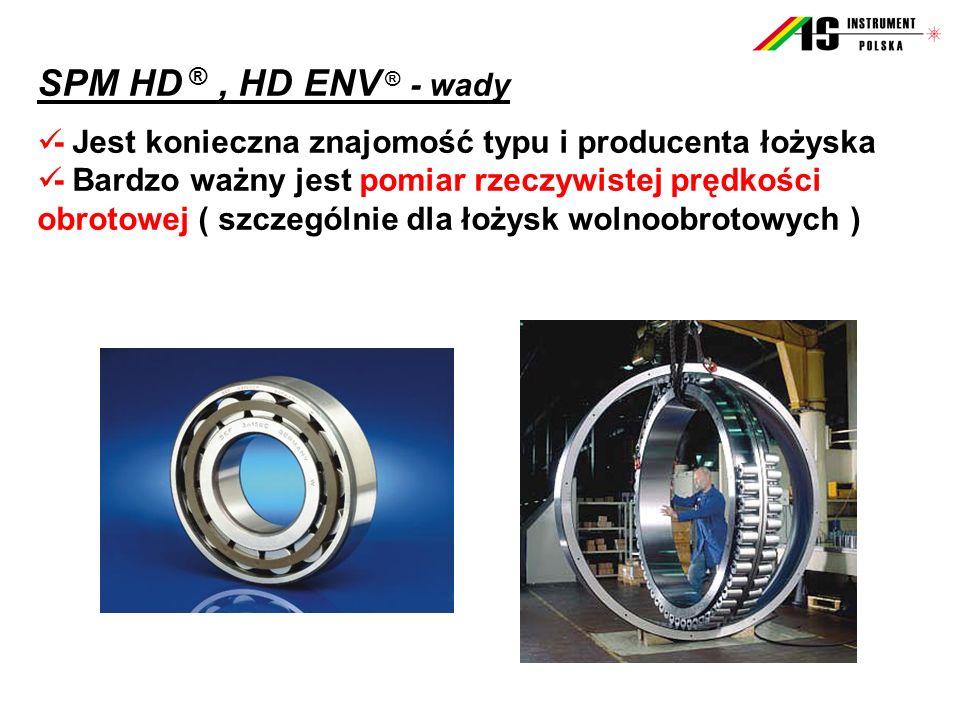 SPM HD ®, HD ENV ® - wady - Jest konieczna znajomość typu i producenta łożyska - Bardzo ważny jest pomiar rzeczywistej prędkości obrotowej ( szczególnie dla łożysk wolnoobrotowych )