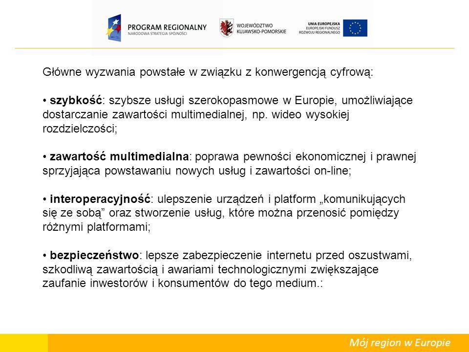 Mój region w Europie Główne wyzwania powstałe w związku z konwergencją cyfrową: szybkość: szybsze usługi szerokopasmowe w Europie, umożliwiające dostarczanie zawartości multimedialnej, np.