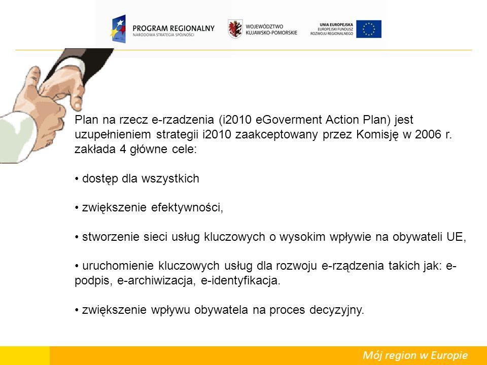 Mój region w Europie Plan na rzecz e-rzadzenia (i2010 eGoverment Action Plan) jest uzupełnieniem strategii i2010 zaakceptowany przez Komisję w 2006 r.