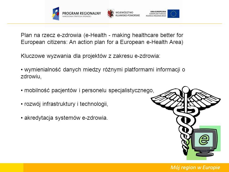 Mój region w Europie Plan na rzecz e-zdrowia (e-Health - making healthcare better for European citizens: An action plan for a European e-Health Area) Kluczowe wyzwania dla projektów z zakresu e-zdrowia: wymienialność danych miedzy różnymi platformami informacji o zdrowiu, mobilność pacjentów i personelu specjalistycznego, rozwój infrastruktury i technologii, akredytacja systemów e-zdrowia.