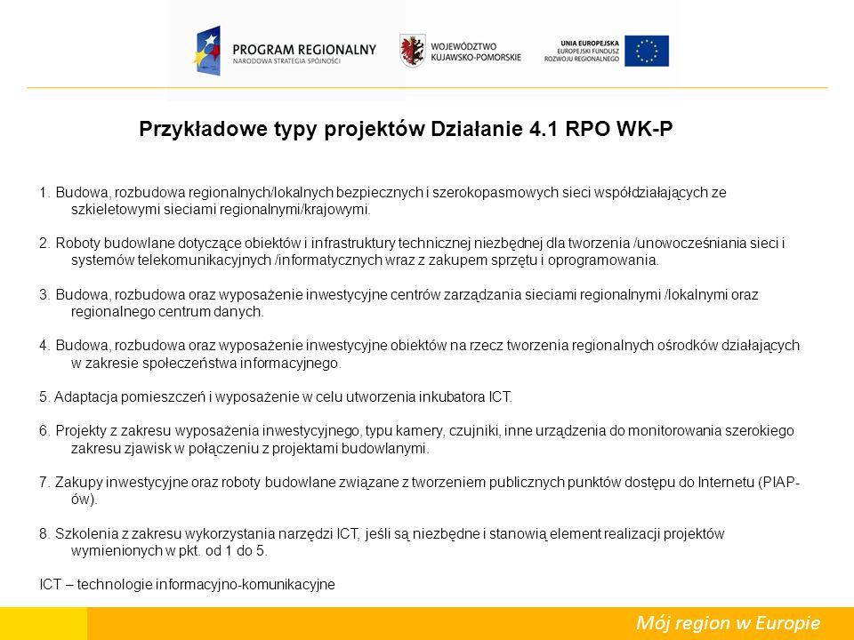 Mój region w Europie Przykładowe typy projektów Działanie 4.1 RPO WK-P 1.