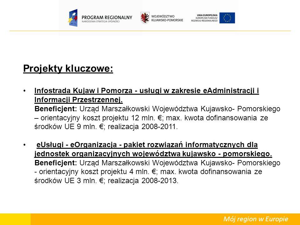 Mój region w Europie Projekty kluczowe: Infostrada Kujaw i Pomorza - usługi w zakresie eAdministracji i Informacji Przestrzennej.