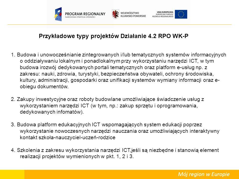 Mój region w Europie Przykładowe typy projektów Działanie 4.2 RPO WK-P 1.