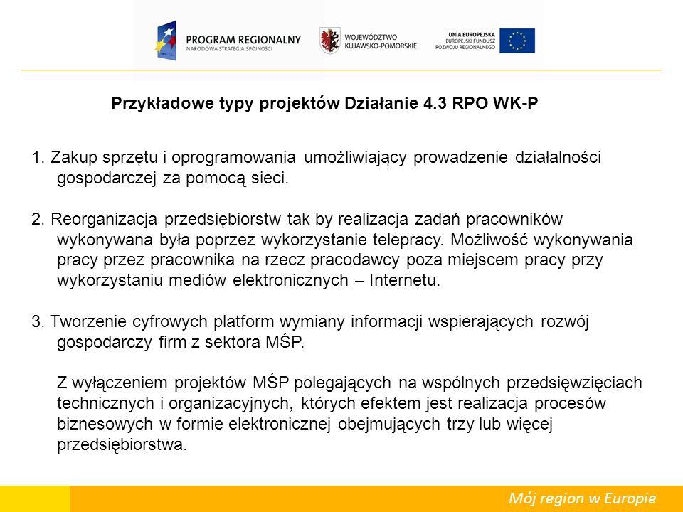Mój region w Europie Przykładowe typy projektów Działanie 4.3 RPO WK-P 1.